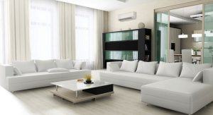 Mitsubishi Electric ductless mini split system in living room